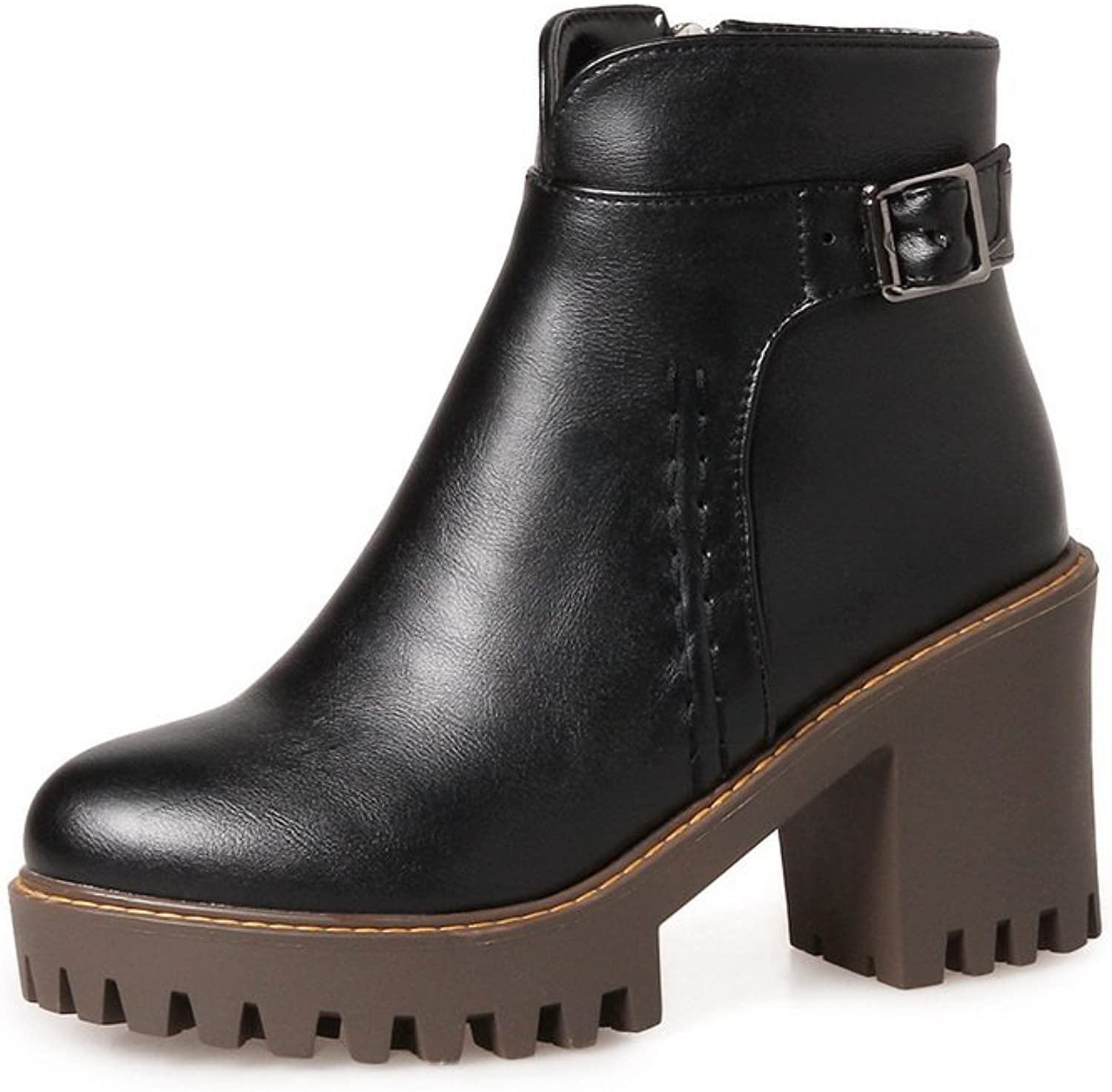 1TO9 Womens Pumps-shoes Low-Top Zip Kitten-Heel Rubber Smooth Leather Bootie Urethane Pumps shoes MNS02481