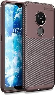 For Nokia 7.2 Carbon Fiber Texture Shockproof TPU Case New (Black) Dualn (Color : Brown)