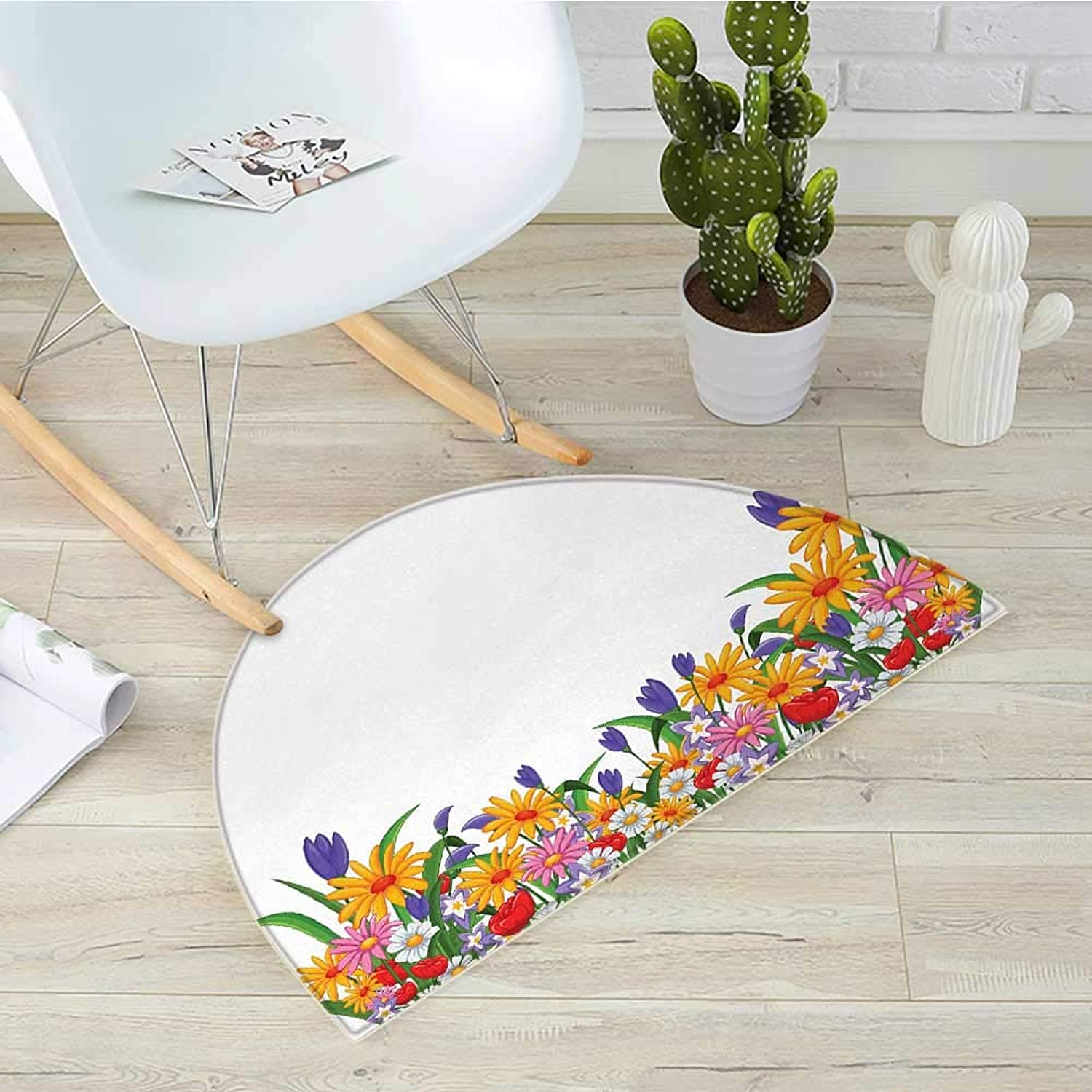 Flower Half Round Door mats Cartoon Style Print with Garden Bedding Plants Floral Daisies purples Tulips Nature Bathroom Mat H 39.3  xD 59  Multicolor