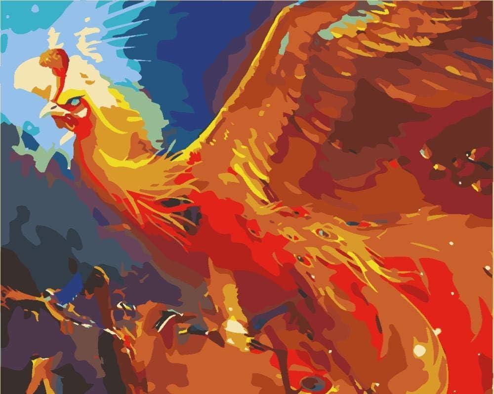 Pintar Por Numeros Adultos Ave Fénix Animal Niños Pintura Por Numeros Con Pinceles Lienzo Y Pinturas Acrilicas, Diy Kit Conjunto Completo De Pinturas Para El Hogar 40x50cm