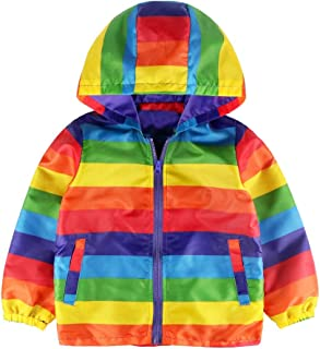 Baby Toddler Girls Boys Autumn Winter Clothes Windbreaker Hoodie Coat 2-6 Years Old,Kid Rainbow Stripe Top Jacket