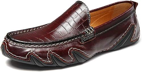 JIALUN-zapatos - Mocasines de Piel para Hombre (Suela de Piel sintética, TransPiñables, sin Cordones)