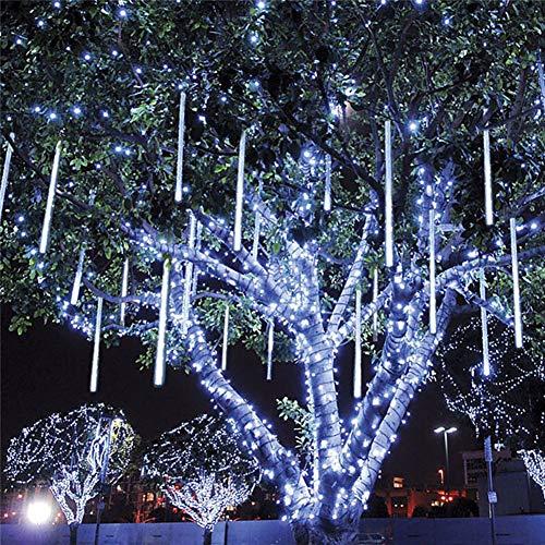 Aiboria LED Icicle Lights wasserdichte lichterregen meteorschauer,Falling Rain Drop Lights, 10 Tubes 180 Bulbs Party-Hochzeits-Weihnachtsdekoration(Weiß)