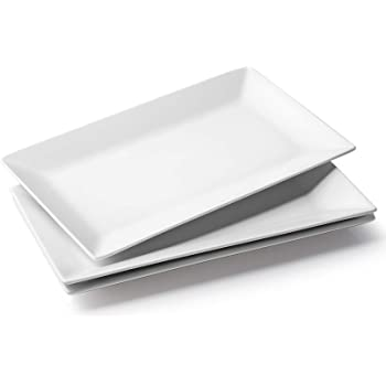 DOWAN Large Rectangular Serving Platters - 14 Inches White Rectangle Serving Plates Porcelain Platters Oven Safe Serving Dishes for Meat, Appetizers, Dessert, Food, Party, Set of 3, White