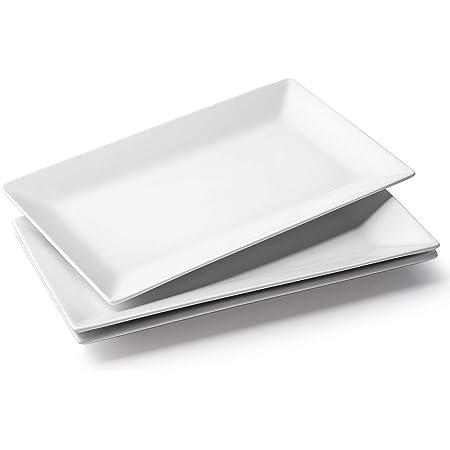 "DOWAN 14"" Serving Platter, Large Rectangle Serving Plates, Restaurant Rectangular Platter Oven Safe, White Serving Trays for Party Lunch, Ceramic Platter for Meat, Dessert, Appetizer, Set of 3"