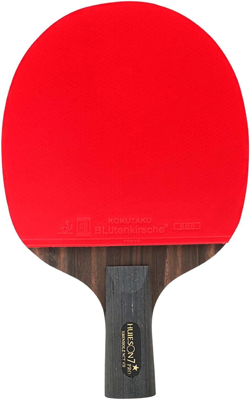 HXFENA Bate de Tenis de Mesa,Palas de Ping Pong Profesional Ligera de 7 Estrellas, éBano de 7 Capas,Buena Dureza con Excelente Velocidad de Giro Y Control/A/Mango corto