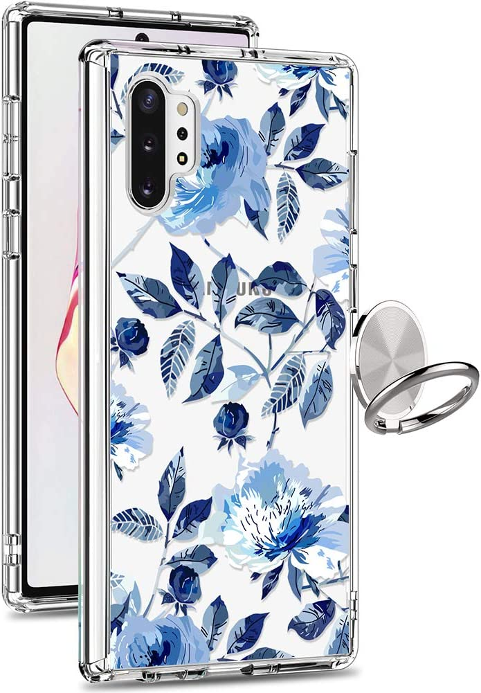 GiiKa Galaxy Note 10 Plus Case, Clear Girls Women Heavy Duty Shockproof Protective Hard PC Back Case with Slim TPU Bumper Cover Phone Case for Samsung Galaxy Note 10+ 5G, Blue Flowers