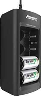 Rechargeable Battery Charger by Energizer, for C D AA AAA 9V Ni-MH Rechargeable Batteries with LED Indicator and Overcharge Prevention Function