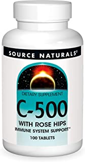 Source Naturals C-500 With Rose Hips, 500 mg Vitamin C Dietary Supplement For Immune System Support - 100 Tablets