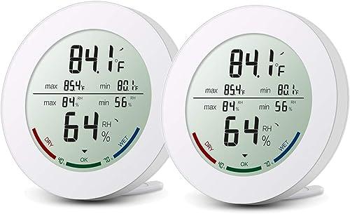 ORIA 【New】 2 Pack Thermomètre Hygromètre Intérieur, Digital Thermo-Hygromètre, HD Écran LCD pour Détecter L'humidité ...