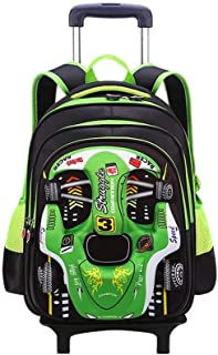 GLJJQMY Travel Backpack Large Capacity Men and Women Computer Bag Backpack Racing Pattern Package Student Trolley Bag Trolley Backpack (Color : Green, Size : 41x20x31cm)