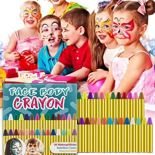 HENMI 28 pitture a Colori del Corpo del Viso Matite, kit per body painting, 28 Colori Halloween Matite Trucco,Easy on e off, ideali per Halloween, feste, eventi per bambini e adulti.