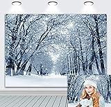 DANIU Fondo para fotografía de invierno con bosque natural, nieve, paisaje, Navidad, día festivo, para fiestas familiares, decoración para cabinas de fotos (210 x 180 cm)