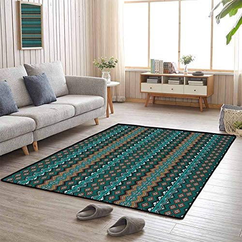 Outdoor Carpets Hand Drawn Style Horizontal Borders with Triangles and Zigzag Motifs Native American 5'x8' Tub Mat