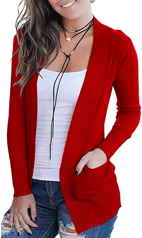 VOIANLIMO Women's Open Front Casual Long Sleeve Knit Classic Sweaters Cardigan with Pockets