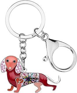 BONSNY Enamel Metal Heart Rhinestone Dachshund Dog Key Chains For Women Kids Car Purse bag Rings Charms Pets Gift