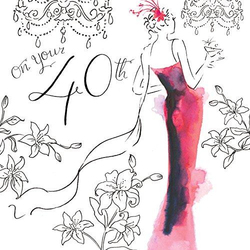 Twizler Glückwunschkarte zum 40. Geburtstag für Sie mit Swarovski-Kristall-Finish und einzigartigem Aquarell-Effekt - 40 Jahre alt - Geburtstagskarte zum 40.