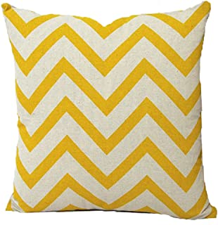 Vanki Chevron Striped style Cotton Linen Square Decorative Throw Pillow Case Cushion Cover 16.5X 16.5inches, yellow stripe Design