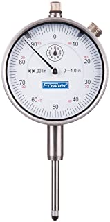 "Fowler 52-520-110 AGD Dial Indicator, White Face, 1"" Travel, 001"" Reading, 2.25"" Diameter"