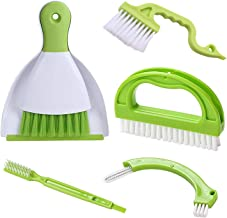 Hand-held Dustpans Grout Brush Groove Gap Cleaning Tools set, LeeLoon Household Cleaning Brushes for Table, Desk, Countert...