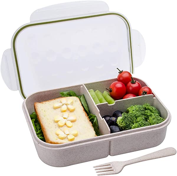 Bento Box Bento Lunch Box For Kids And Adults Leakproof Lunch Containers With 3 Compartments Lunch Box Made By Wheat Fiber Material White By Itopor