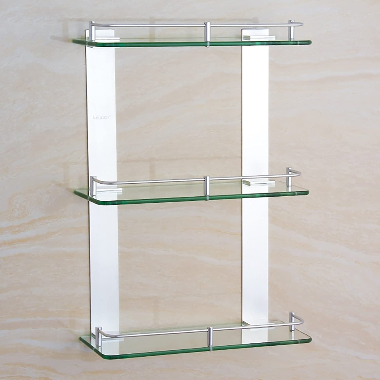 YONGLIANG Sanitary Ware Space Aluminum Triple Glass Shelf Bathroom Hardware Bathroom Rectangular Storage Bathroom Platform Shelf ( Size   Xs )
