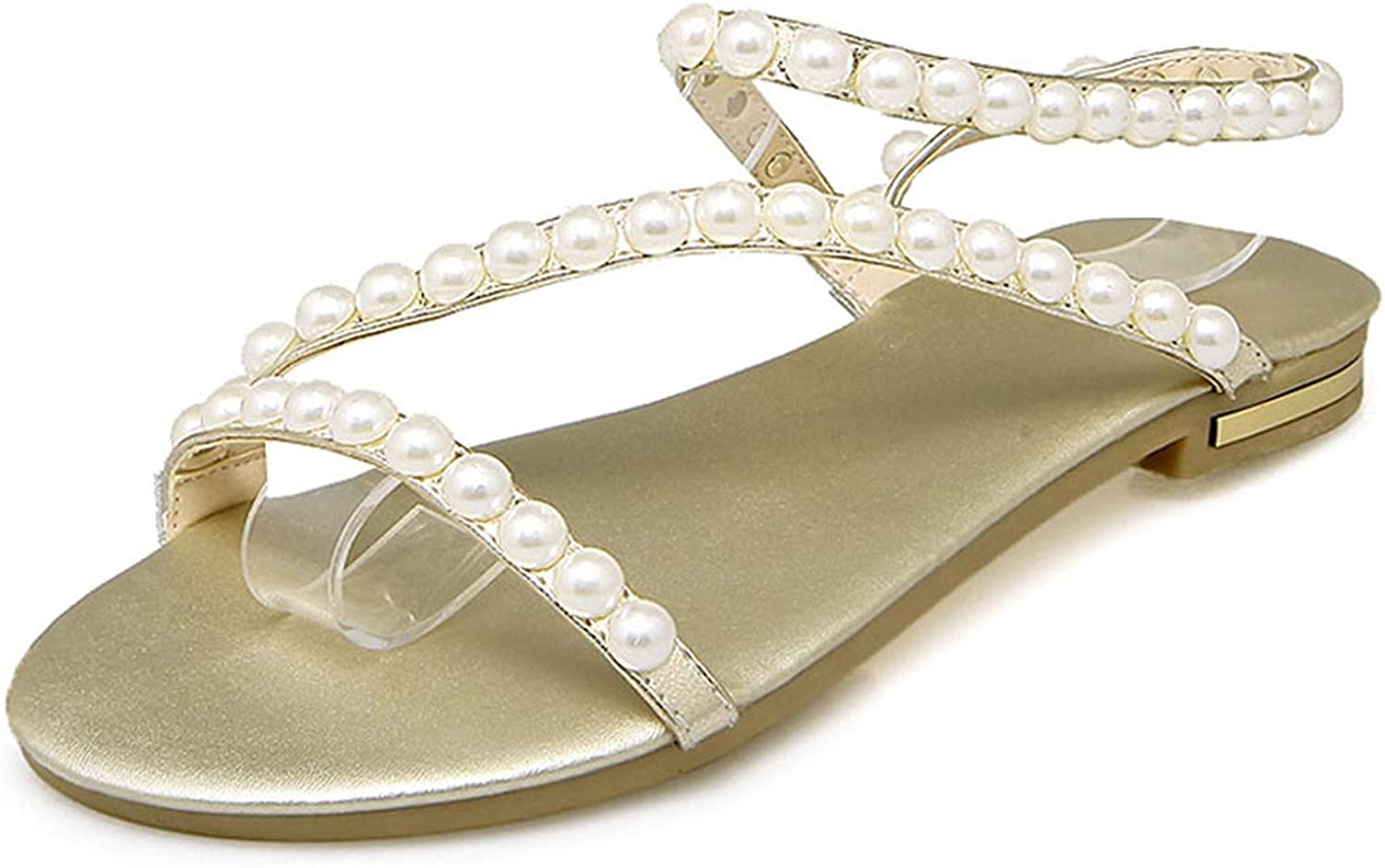 Summer Sandals Pearl Ladies Sandals Cross-Tied Flats Genuine Leather Girl Wear shoes