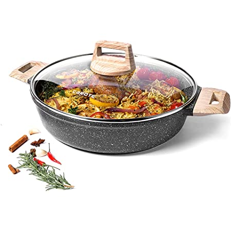 CAROTE Granite Covered Braiser Kadhai with Lid, All Stoves Compatible (Induction Ready), 4mm Base 5-ply Non Stick Swiss Coating, 3.8 Liters/28cm
