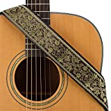 CLOUDMUSIC Guitar Strap Jacquard Weave Strap With Leather Ends Vintage Classical Pattern Design Guitar Picks Free (Vintage Classical Pattern Design 36)