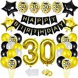 30 Globos Cumpleaños Decoracione Oro Negro, Happy Birthday cumpleaños,Decoración Globos de Látex Dorado Papel de Oro Apto para Hombres y Mujeres Adultos Decoración de Fiesta