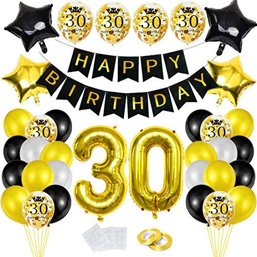 Bluelves 30 Globos Cumpleaños Decoracione Oro Negro, Happy Birthday cumpleaños,Decoración Globos de Látex Dorado Papel de Oro Apto para Hombres y Mujeres Adultos Decoración de Fiesta