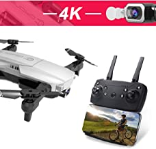 Drone with Camera GPS WiFi 4K 1080P HD FPV Foldable RC Six-axis Gyroscope RTF 4CH 2.4Ghz Remote Control Headless [Altitude Hold] Gravity Sensor Super Easy Fly for Training (Silver, 4K)