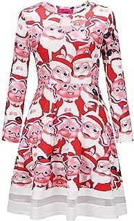 GAGA Women's Autumn Key Hole Christmas Pattern A Line Flared Mini Party Dresses 11 Large