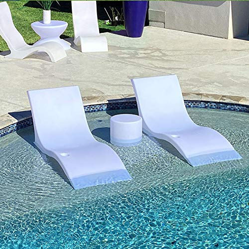 Luxury Lounger in Water Pool Chaise Lounge for Ledge 2 Chairs - White
