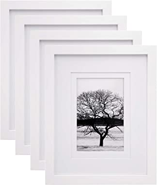 Egofine 8x10 Picture Frames 4 PCS, Made of Solid Wood Display 4x6 and 5x7 with Mat, for Table Top Display and Wall Mounting P