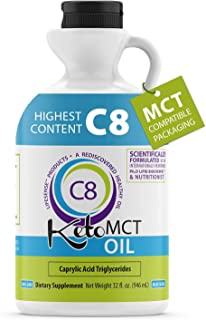Premium 100% C8 Keto MCT oil Sourced from Coconut Oil, 32 oz, Custom easy pour Bottle, Keto Friendly, Made in USA by PhD N...