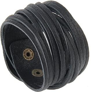 Black Multilayer Leather Wrap Bracelet Punk Cuff Bangles Handmade Jewelry Adjustable Wristband for Men, Women