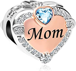 Q&Locket Heart Love Mom Charm Rose Gold Plated Birthstone Charms Mothers Day Beads for Bracelets