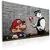 murando Cuadro en Lienzo 120x80 cm - Banksy 1 Parte Impresión en Material Tejido no Tejido Impresión Artística Imagen Gráfica Decoracion de Pared Street Art Mario h-B-0080-b-a
