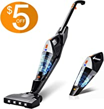 Cordless Vacuum, Hikeren 12000 Pa Powerful Stick Vacuum, 2 in 1 Lightweight Rechargeable Vacuum Cleaner with Lithium Ion Battery for Hardwood Floor Carpet Pet Hair, White