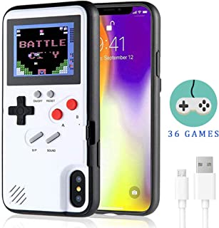 Gameboy Case for iPhone,LucBuy Retro Protective Cover Self-Powered Case with 36 Small Game, Full Color Display, Shockproof Video Game Case for iPhone X/Xs/MAX/Xr/6/7/8Plus (White, iPhone X/XS)