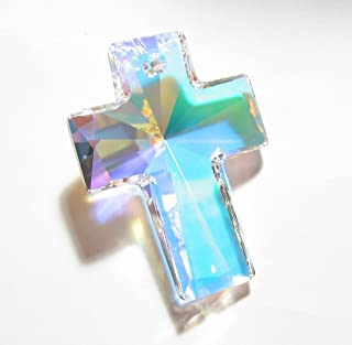 1 pc Swarovski Crystal 6864 Huge Cross Pendant Clear AB 40mm / Findings/Crystallized Element