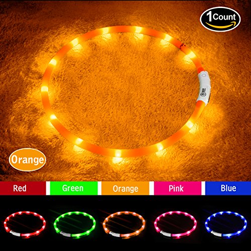 LED Dog Collar,USB Rechargeable Glowing Dog Collars, Light Up Collar Improved Pet Safety &Visibility at Night, 3 Flashing Modes,Water-Resistant Lighted Collar Fits For Small Medium Large Dogs (orange)