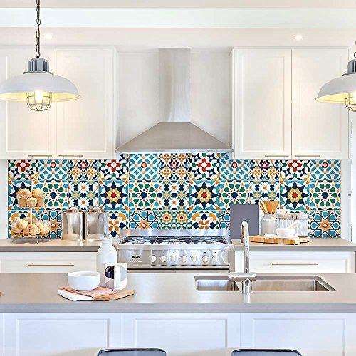 24 (Piezas) Adhesivo para Azulejos 15x15 cm - PS00112 - Doha - Adhesivo Decorativo para Azulejos para baño y Cocina - Stickers Azulejos - Collage de Azulejos