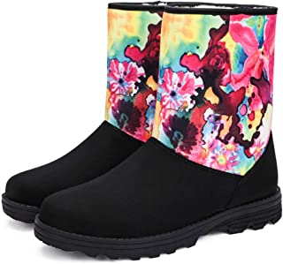 DAYOUT Women Suede Snow Boots - Winter Flat Heel Warm Shoes Mid-Calf Non-Slip Fur Lining Short Snow Boots with Colorful Graffiti Size US6.5-11.5 Available (Black)
