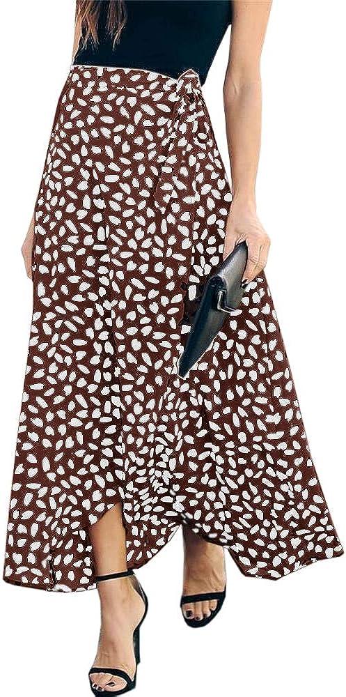 UMEKO Womens Leopard Print Long Skirt High Waisted Drawstring Summer Boho Maxi Skirts