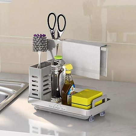 Shunfaji Panier de rangement pour évier de cuisine et de salle de bain avec égouttoir, colle et plan de travail, éponge double usage, porte-savon en acier inoxydable (304 argent)