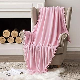 MIULEE Bedding Manta para Sófas de Franela Manta para Cama Sofa Longue Sensación de Terciopelo Grande Súper Suave Soft Largo Blanket Ligera y Cálida Felpa Manta 127x153cm 50x60inch Rosa