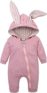 SERAPHY Baby Rabbit Ears Romper Newborn Baby Velvet Hooded Clothes Breathable BabySuits Cotton Zipped Up Jumpsuit Warm Thick Outwear Pullover for Kids