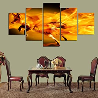 DZXGY 5 Pieces The Family Decorates Animal Fox Painting Mass Effect On Canvas Wall Art Picture Gift- 40X60X2 40X80X2 40X100Cm /No Frame